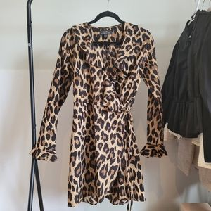 Cheetah Print Wrap Dress